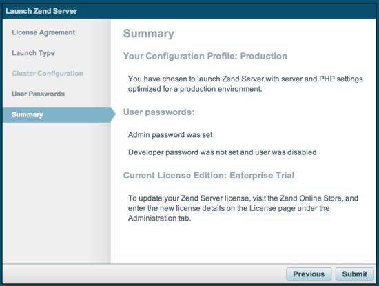 Zend Server summary