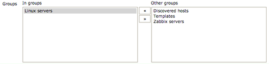 Zabbix client group definition