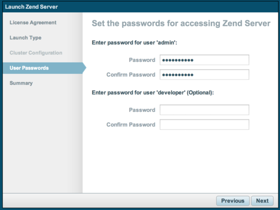 Enter passwords for Zend Server
