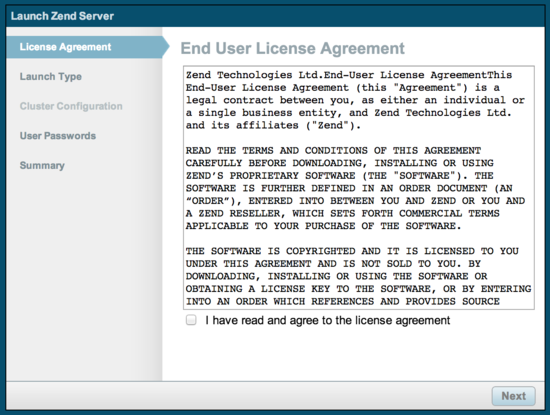 Zend Server license agreement