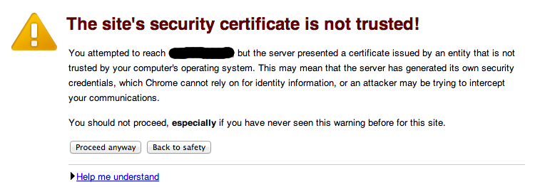 PhpMyAdmin Invalid SSL certificate page