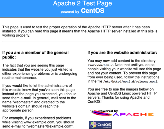 Default Apache screen