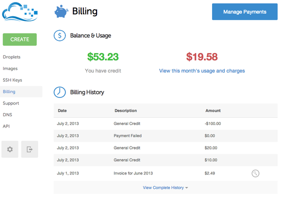 DigitalOcean Billing Page