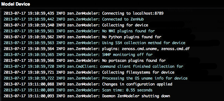 Zenoss model device log information