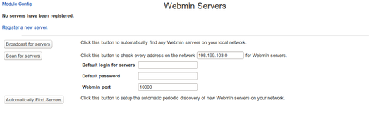 Webmin Servers Index