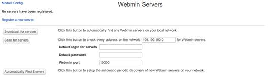 Webmin Servers Index